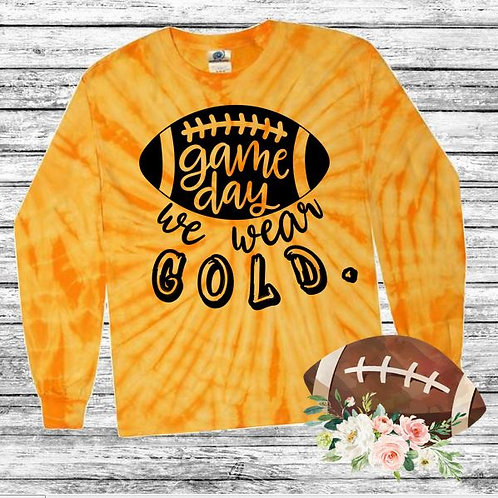 Graphic Tie Dye TEE Long Sleeve Game Day We Wear Gold