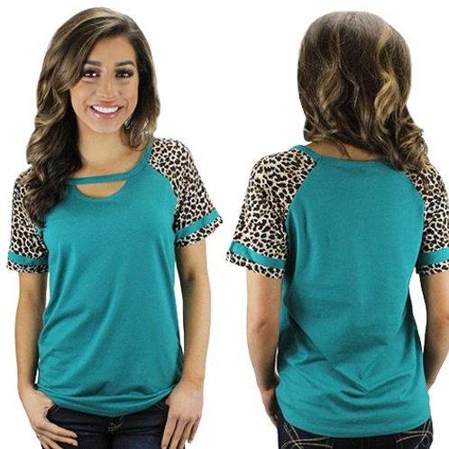 Short Sleeve Leopard Keyhole Design Turquoise