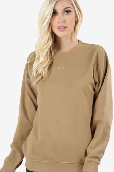 TRIANGLE STITCH ROUND NECK SWEATSHIRTS Relaxed Fit Khaki