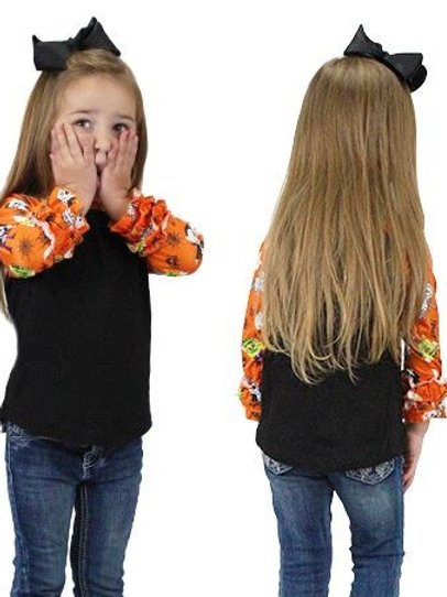 Halloween Raglan 3/4 Sleeve Shirts Youth Black