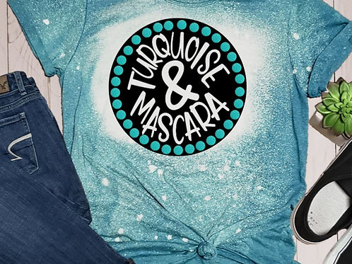 BLEACHED TEE Short Sleeve or Tank Turquoise Mascara