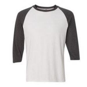 Anvil Unisex 3/4 Sleeve Raglan Tee Dark Grey/White
