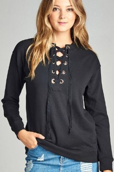 Long Raglan Sleeve Lace-up French Terry Shirt Black