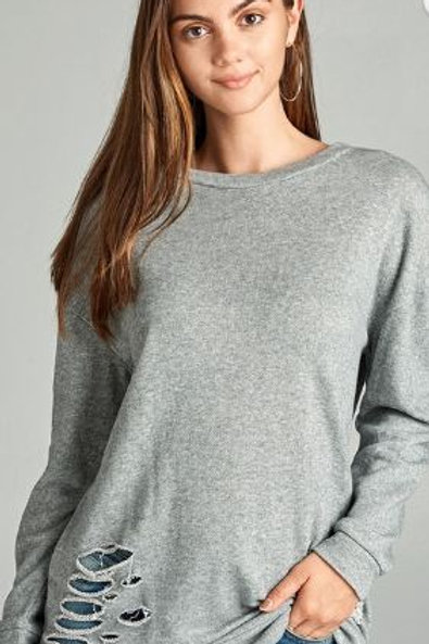 Dropped Long Sleeve Distressed French Terry Tunic Shirt Gray