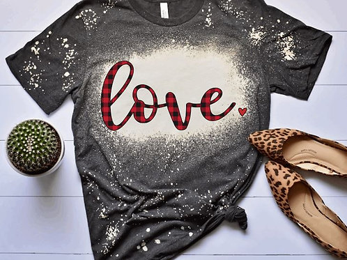 BLEACHED TEE Short or Long Sleeve Valentine Love small heart