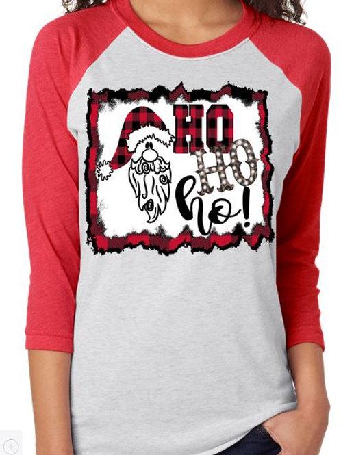 SUBLIMATED TEE Christmas Santa Ho Ho Ho with Background