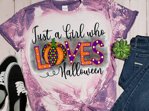 BLEACHED TEE Short or Long Sleeve Just a Girl Who Loves Halloween