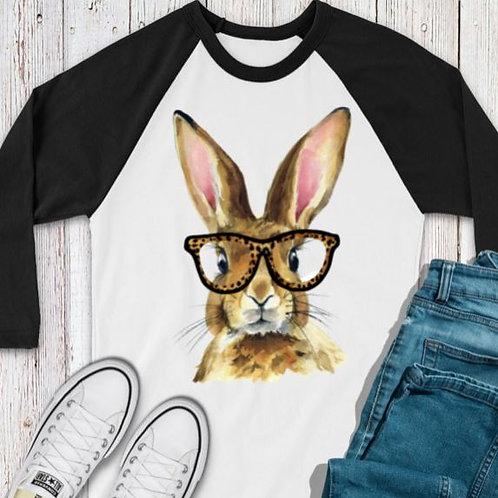 SUBLIMATED TEE RAGLAN Brown Easter Bunny with Glasses