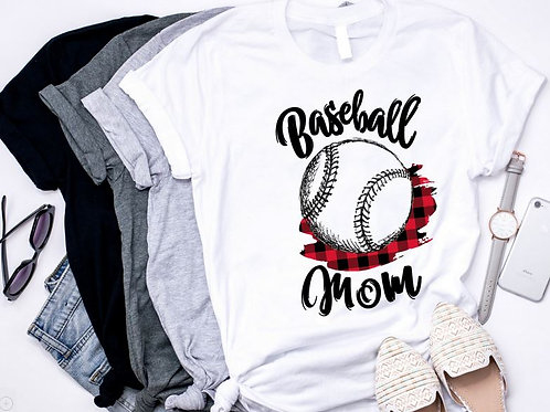 SUBLIMATED TEE Short or Long Sleeve Scribble Baseball Mom Red Plaid