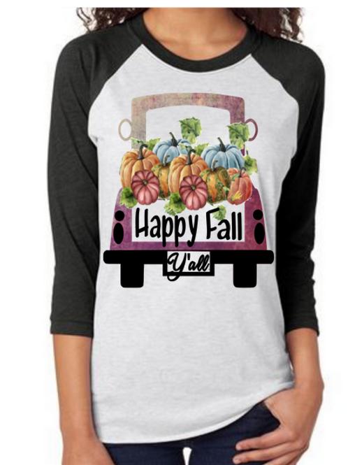 SUBLIMATED TEE Raglan Happy Fall Yall Vintage Purple Truck