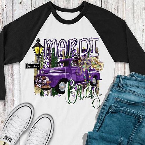 SUBLIMATED TEE RAGLAN Mardi Gras Purple Truck