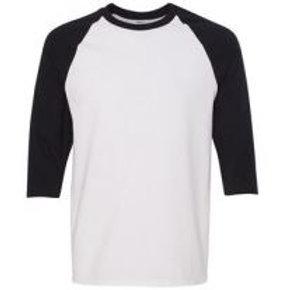 Gildan Unisex 3/4 Sleeve Raglan Tee Black/White