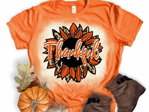 BLEACHED TEE Short or Long Sleeve Thankful Sunflower Orange