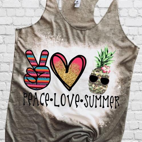 BLEACHED TANK TOP or TEE Peace Love Pineapple