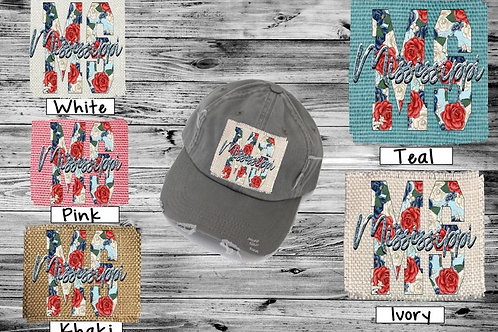 Sublimated Trucker Hats Many Colors Red and Blue Roses ANY STATE