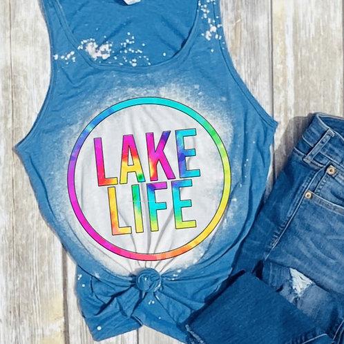 BLEACHED TANK TOP or TEE Lake Life Circle