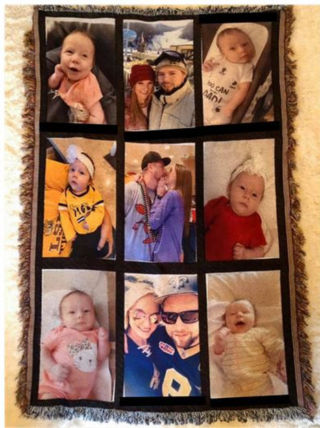 SUBLIMATED Personalized 9 Panel BLANKET - Includes any of your own Pictures!