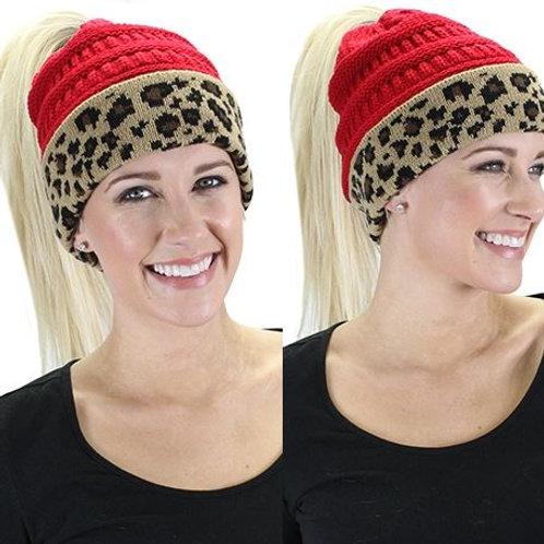 CC Ponytail Leopard Beanie Red