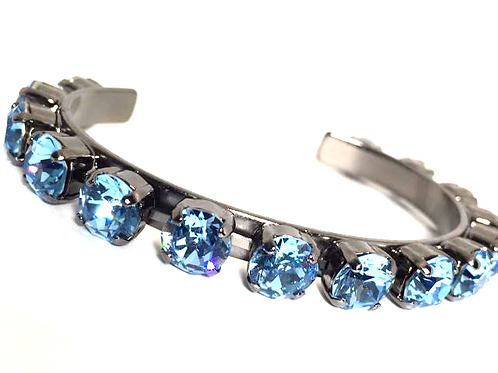 Swarovski Crystal Bangle 8mm Stones Choose Your Setting Aqua