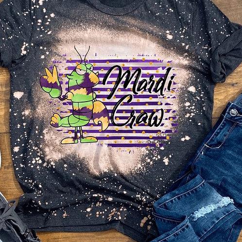 BLEACHED TEE Short or Long Sleeve Mardi Gras Cute Crawfish