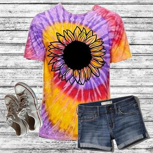 Graphic Tie Dye TEE Short Sunflower Handdrawn Festival