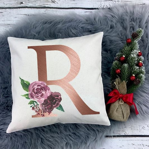Personalized SUBLIMATED Pillow Covers Flower Initial Rose Gold