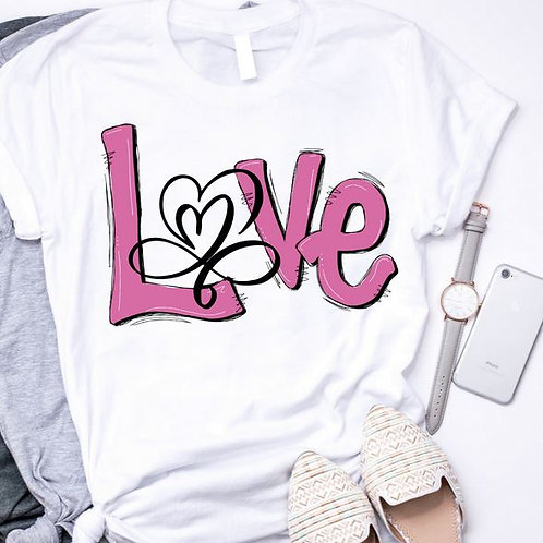 SUBLIMATED TRANSFER ONLY Valentines LOVE Open Heart Pink