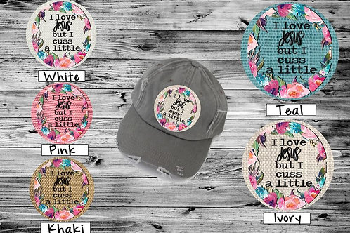 Sublimated Trucker Hats Many Colors I Love Jesus But I cuss alittle