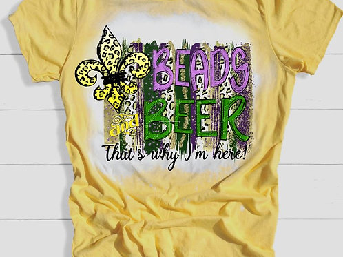 BLEACHED TEE Short or Long Sleeve Mardi Gras Beads and Beer