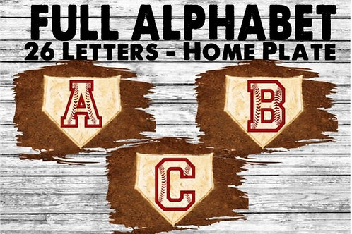 SUBLIMATED PNG ONLY Baseball Home Plate FULL ALPHABET