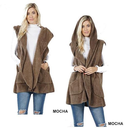 Faux Fur Hoodie Vest with Side Pockets Mocha