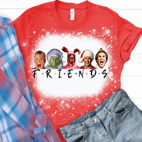 BLEACHED TEE Short or Long Sleeve Plaid Christmas Friends