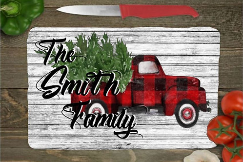 SUBLIMATED Glass Cutting Board SMALL or LARGE Christmas Plaid Truck