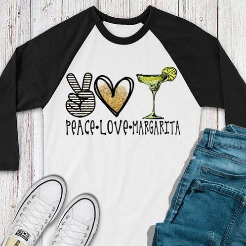 SUBLIMATED TEE RAGLAN Peace Love Margarita