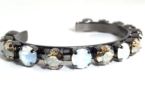 Swarovski Crystal Bangle 8mm Stones Choose Your Setting Golden Shadow/White Opal