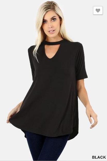 Choker Neck Round Hem Top Short Sleeve Shirt Black