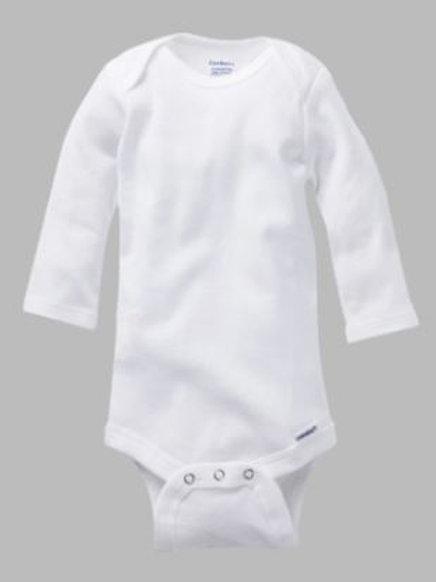 Onesie Long Sleeve Sizes 0-3 mo, 3-6 mo, 6-9 mo, 12 mo, 18 mo, 24 mo, White