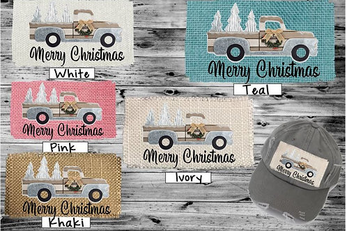 Sublimated Trucker Hats Many Colors Merry Christmas Wooden Truck