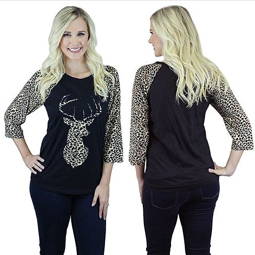 Deer Raglan Sleeve Leopard Print Shirts Black