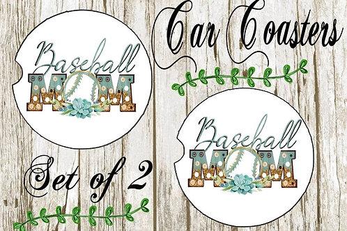 SUBLIMATED Car Coasters Set of 2 Rubber or Sandstone Baseball Mom Teal Gold
