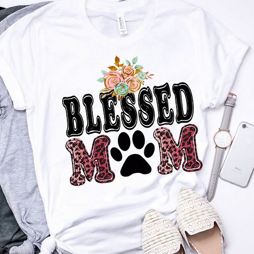 SUBLIMATED TEE Short or Long Sleeve Dog Mom Blessed Dog Mom Red Leopard
