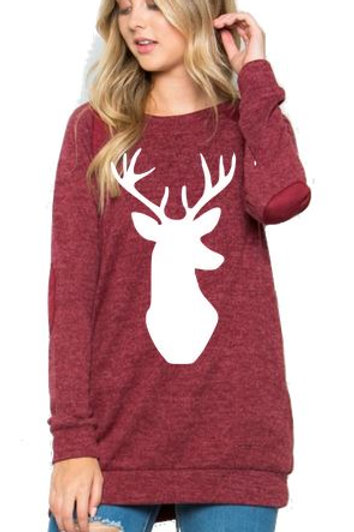 Brushed Knit Elbow Patched Long Sleeve Tunic Christmas Deer Burgundy