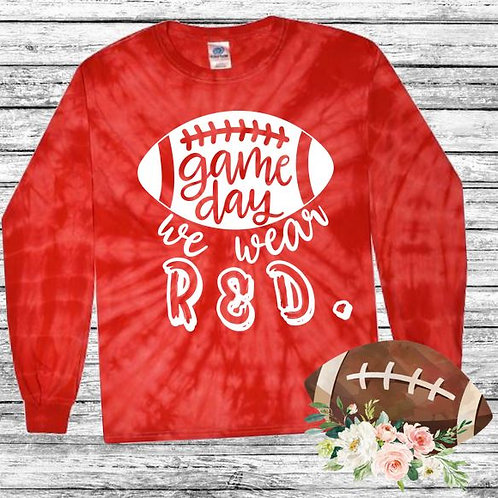 Graphic Tie Dye TEE Long Sleeve Game Day We Wear Red