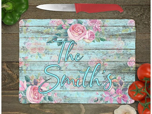 SUBLIMATED Glass Cutting Board Personalized SMALL or LARGE Rose Wood
