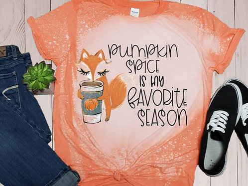 BLEACHED TEE Short or Long Sleeve Pumpkin Spice Fox