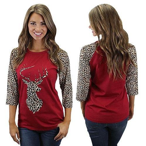 Deer Raglan Sleeve Leopard Print Shirts Burgundy