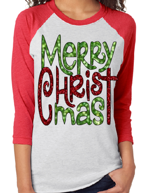 CHRISTMAS RAGLAN SHIRT Merry Christ Mas Design Print