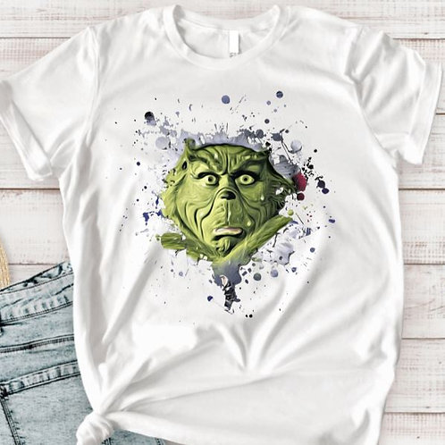 SUBLIMATED TEE Short or Long Sleeve Christmas Grinch Face
