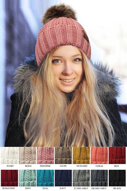 Knitted Hat with Fuzzy Fleece Lining with Pom Pom Beanie Many Colors