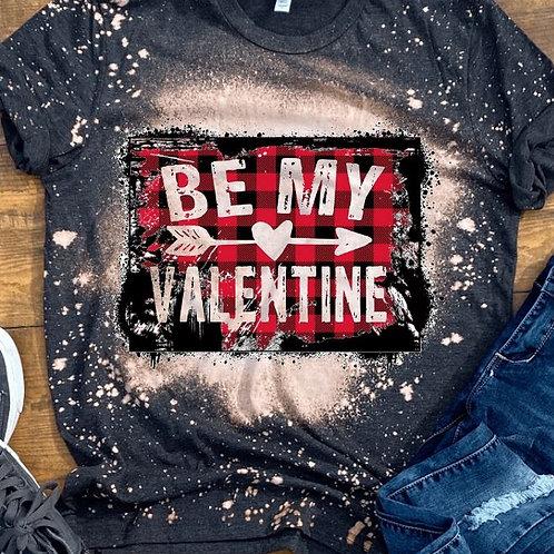 BLEACHED TEE Short or Long Sleeve Be My Valentine Plaid Backsplash Arrow